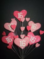 Hearts 16th birthday cake topper decoration in shades of pink - free postage